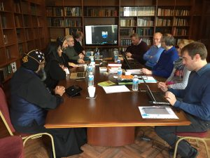 The committee at work. Some members joined us by Skype.